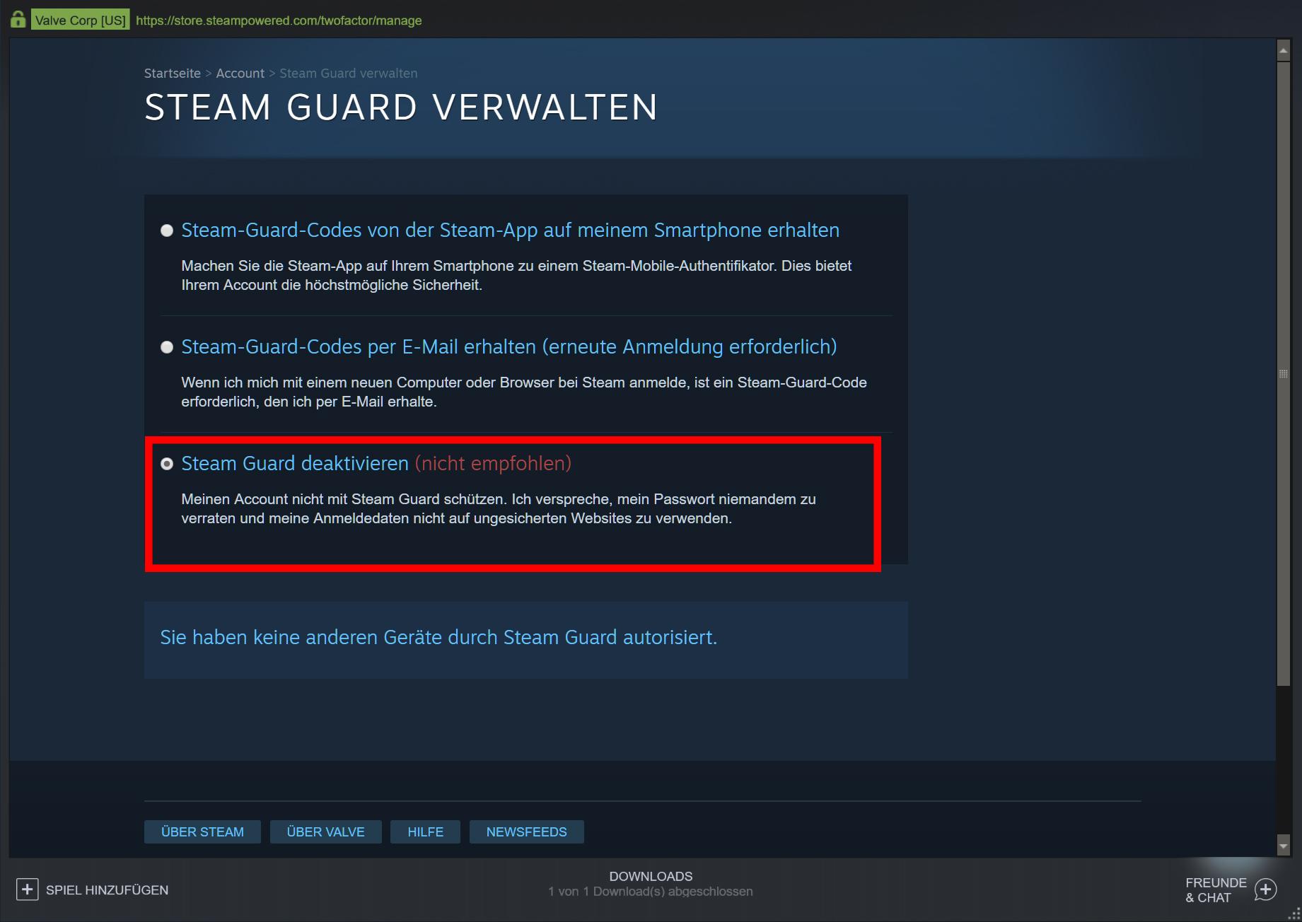 Steam-Guard deaktivieren (Bild 2)
